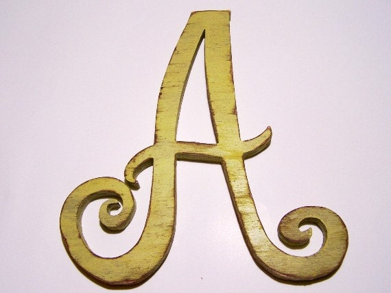 """Wood letter """"A"""", nursery letters, alphabet letter, 12 inch, shabby chic, distressed, handmade, cottage decor, vintage, painted Light Avocado"""