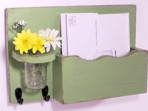 Mail organizer, floral vase, sconce, key hooks, vintage, wood, distressed, shabby chic, home decor,painted Garden Green