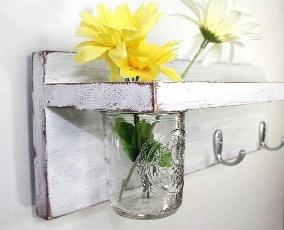 Cottage decor shelf 3 key hooks with floral vase, coat hooks, wood, home organizer, shabby chic, home decor,  painted Vintage White