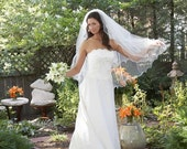 Two Tier Bridal Veil , bridal illusion tulle,fingertip,elbow, with lettuce edge