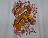 Unisex adult tshirt medium red and orange dragon