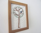 Hand Embroidered Framed Wall Art Tree Bird