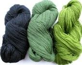 Wool Yarn Skeins - green, blue, black 300 gr (10.6 oz ), approximately 383 yds