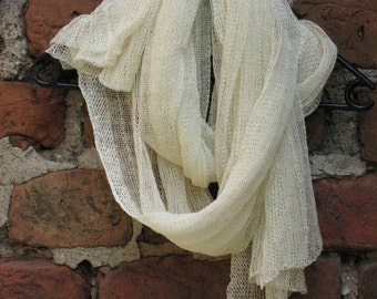 Linen Scarf Shawl Wrap Stole milk white SALE