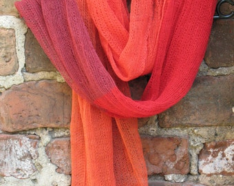 Linen Scarf Shawl Wrap Stole Orange Red Burgundy Multicolored