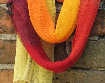 Linen Scarf Shawl Wrap Stole  yellow orange red burgundy Multicolored SALE