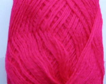 Wool Acrylic Yarn Skeins - raspberry pink red100 gr (3.53 oz ), approximately 407 yds