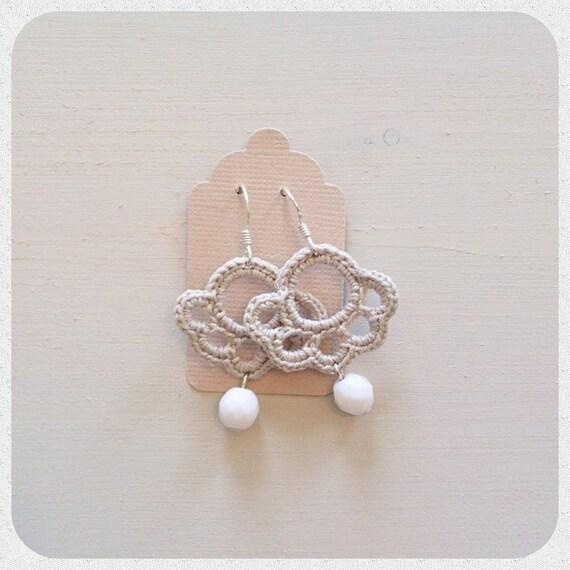 Earrings Crochet Meringue -grigio corda-