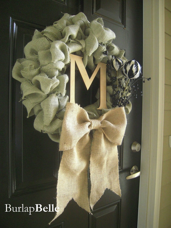 Beautiful Sage Burlap Wreath with Bow and Accents