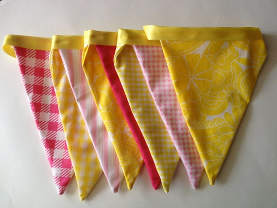 Summer / Pink Lemonade Fabric Pennant Banner // Cloth Banner / Fabric Flag Bunting / Pink and Yellow / Gingham Check / Citrus / Shabby Chic
