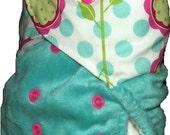 Minky split pocket nappy - Floral dots - One size fits most