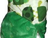 Minky split pocket nappy - Turtle grass - One size fits most