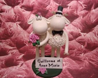 Customized Sheep Wedding Cake Topper