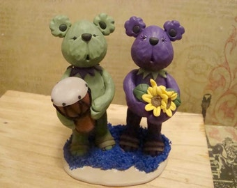 Personlized Bear Wedding Cake Topper