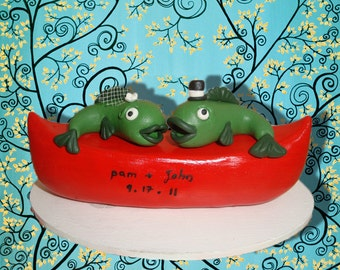 Personlized Fish Wedding Cake Topper