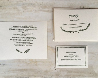Custom Wedding Invitation Rubber Stamp Set // Complete Set  Saintjohnstreetpress