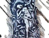 Vintage funeral home ladies room plaque, chalkware Art Deco Goddess