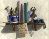 """PRINT. 8x10"""". Art related items sit on a shelf together."""