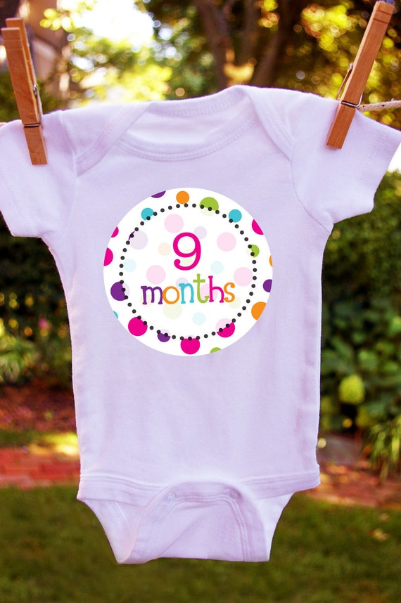 25% off - free shipping  -polka dot RAINBOW Monthly onesie stickers