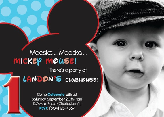 25% off - MICKEY mouse inspired BIRTHDAY, invitation - any age - DIGITAL file -