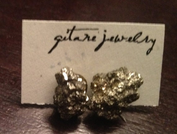 Pyrite Fools Gold Stone Earrings