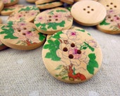 MWB11112 - 30mm Roses in Garden Painted Wood Buttons, 30mm Roses in Garden Painted Wooden Buttons (10 in 1 set)