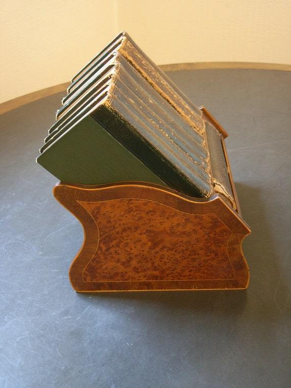 ASPREY Art Deco Miniature Leather Bound Reference Library & Burl Walnut rack, Circa 1930 New Bond Street London W1