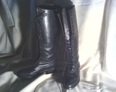 Charles David  Boho Knee High All Leather Lace Up Black Boots Size 7.5
