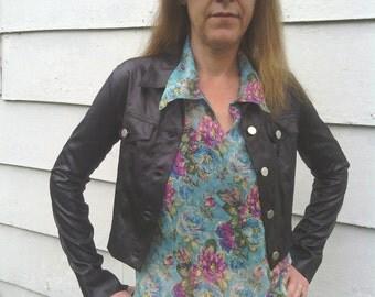 Vintage 80's or 90s Cropped Black Jacket Size xxs or xs