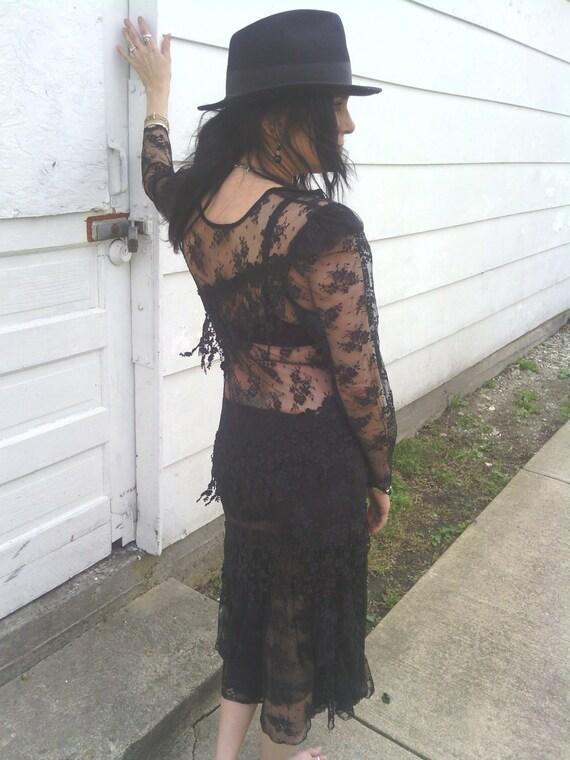 SALE!!! Long Sheer Black Stretch Lace Goth Steampunk Long Sleeve Maxi Dress