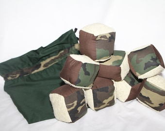 Camouflage soft block set-eight soft blocks and a bag
