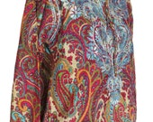 X-LARGE - Printed Cotton Tunic with Blue Embroidery
