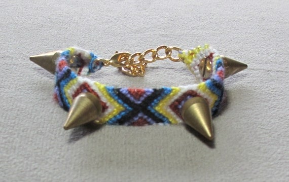 SALE large 4 golden spiked friendship bracelet