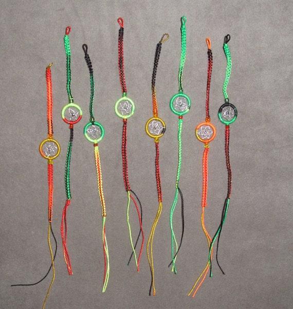 dream catcher friendship bracelets. neon rasta colors. FREE SHIPPING