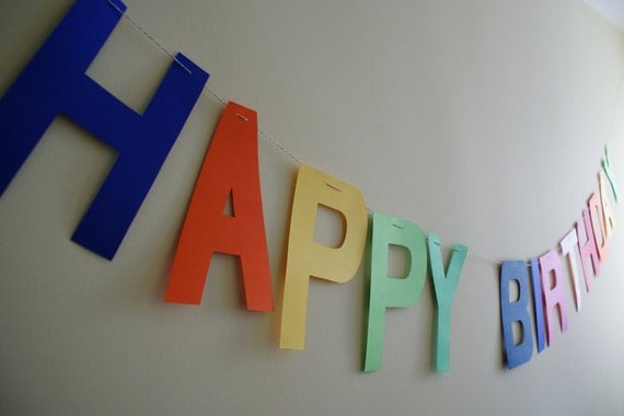 """Happy Birthday garland/ party banner for Rainbow theme party, Extra Large( 8.5"""" tall) -Photo Prop"""