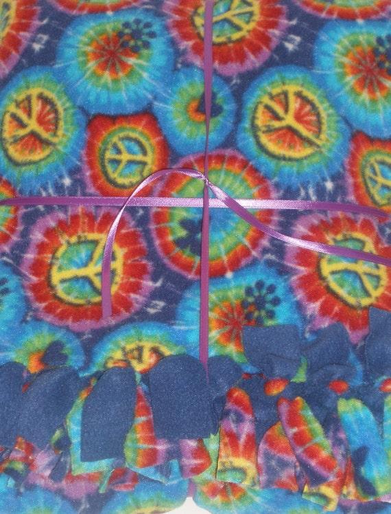 Tie-Dyed Peace Fleece Blanket