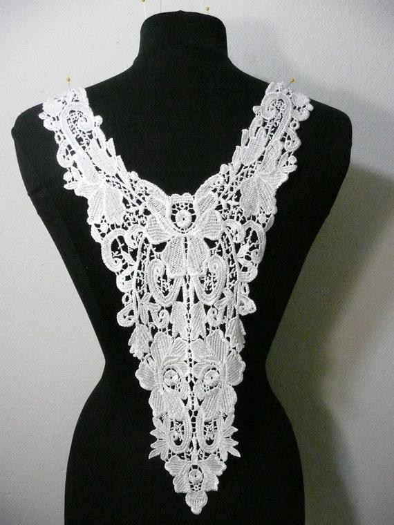 white color venice lace applique trim. Beautiful design for front or back piece