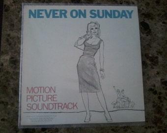 Never on Sunday vintage vinyl record soundtrack 1960s Fab