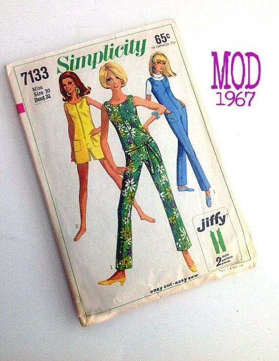 SALE Vintage 1967 Simplicity pattern Jiffy Jumpsuit Mod clothing