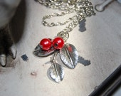 Ruby Red Berry Necklace,  Berry and Leaf Charm Necklace, Cherry Charm Wire Wrapped Necklace