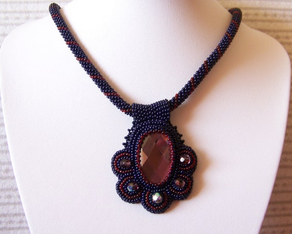 SALE - Brilliant Flower -  Bead embroidery Necklace