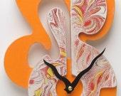 Unique Marbleized Clock Small - High Glitter Orange