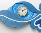 Wall Clock Queen of Hearts Blue on Blue Metallic with White