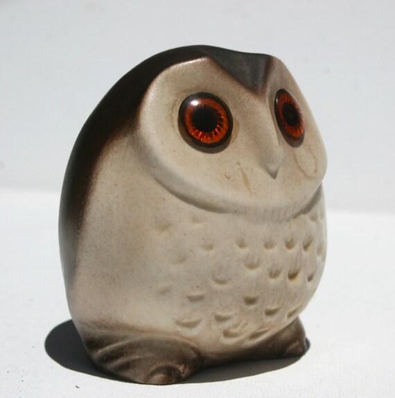 50s Barn Owl Ceramic Figurine Sculpture W Amber Eyes Brown