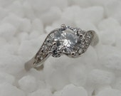 New 14k White Gold Solitaire Engagement CZ Ring size 5.5 (an r1