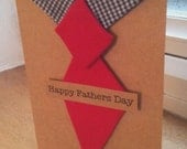 Handmade Fabric Tie-Pin Style Happy Father's Day Card