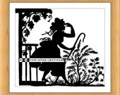 Digital Image Download -- Vintage Children's Book Silhouette Illustration -- Little Bo Peep -- 10x8.77 Image - Resizing Available - No. 465