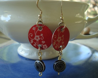 Earrings with Flair - Red and Black