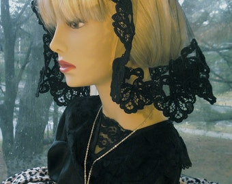 Princess Style Mantilla / Small Shell Chapel Veil / Catholic Headcovering / Sacramental Veiling / Mother of God.