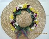 Pretty Pansies:  Hat Wreath, 17 inch, Straw hat, Front Door Wreaths. Purple, White Pansies, Yellow Daisies. Spring, Summer.